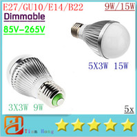 led light ball - X5 Retail Dimmable Bubble Ball Bulb V W W W E14 E27 B22 GU10 High power lamp Globe light LED Lighting