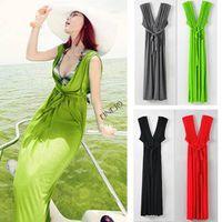 Sleeveless Ankle-Length Acetate Drop Shipping 2014 New Fashion Summer Women Sleeveless Deep-V Empire Boho Bohemian Bikini Beach Long Maxi Dress b4 SV004359