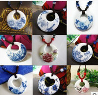 Pendant Necklaces   Jingdezhen ceramic jewelry wholesale Ceramic necklace restoring ancient ways Chinese blue and white porcelain necklace pendant much money