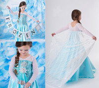 TuTu Summer Ball Gown Frozen Elsa Snow Icy Blue Queen Gown Elsa Dress Girls Princess Costume Princess long sleeves Elsa Fancy Dress Cosplay Costume