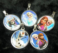 Wholesale Hot film frozen needle Anna elsa Olaf silicone stainless steel pendant Children s Jewelry Accessories