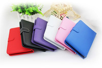 Wholesale Universal inch Micro USB Keyboard PU Leather Caseh for Android Tablet PC Epad Apad Zpad MID Stand Holder Buckle Scalable DHL50