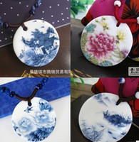 Wholesale Ceramic tile necklace Beautiful peony Porcelain jewellery In the popular small accessories