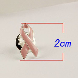 2017 ruban rose Gros-MN-PBR001, cadeau promotionnel 2cm Breast Cancer Awareness Pink Ribbon émail Broche ruban rose ventes