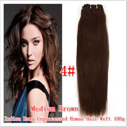"Wholesale - indian virgin hair bundle silk straight weft #4 medium brown 18""-22"" 100g pcs human hair extensions"