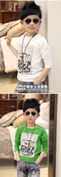 Wholesale Children Clothes fall new boy Bicycle cartoon pattern round neck long sleeved t shirt baby shirt bottoming dandys