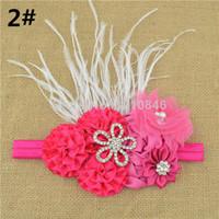 Wholesale 2014 new Satin Ribbon DIY Flower rhinestone hairband for baby girl princess lace rose flower headband