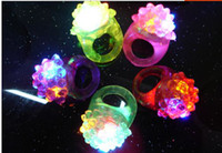 Wholesale 2014 Hot Selling Cool Led Light Up Flashing Bubble Ring Rave Party Blinking Soft Jelly Glow Party favor Strawberry flash fluorescent ring