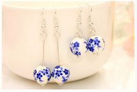 Dangle & Chandelier chinese Women's Fashion handmade ceramic dangle earrings jewelry ethnic style Chinese blue and white porcelain earrings jewelry 10pairs