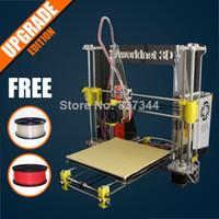 0.1-0.4mm 100mm/s 200*200*180mm DHL Free Shipping Prusa Reprap i3 Aworldnet 3D printer DIY kit A600 impressora 3D With Two Roll 1.75mm PLA Filaments