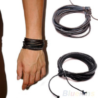 Wholesale Multilayer Wrap Men s Women s Synthetic Leather Braided Rope Adjustable Bracelet Cusual Sport