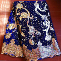 african fabric - YARDS a piece Hot sales Velvet African fabric with shining sequins and golden pattern for making charming dress VL017
