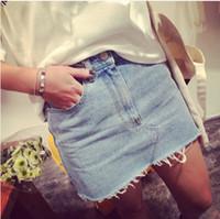 2014 primavera y verano debían estar equipados con lado super delgada luz azul denim jean falda paquete cadera falda flash envío