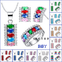 Wholesale silver plated with K gold candy color gem suit necklace earrings ring women jewelry sets new style