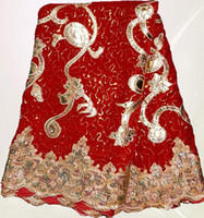 Wholesale YARDS a piece RED color African velvet lace fabric with sequins embroidery for party dress many in stock