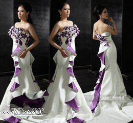 Wholesale 2015 Olesa Designers Boutique Real Photos Purple And White Sexy Online Wedding Dresses Canada Strapless Mermaid Court Train Satin Gown