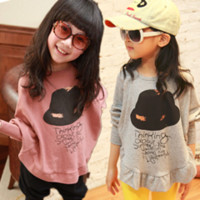 Wholesale Brand New Girls T shirts Hat pattern Bat like Shirt Full Sleeve Cotton Top Quality Hot Sale LT57