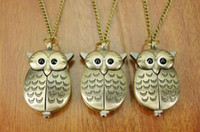 Wholesale Owl pocket watch necklace quartz watch key chain watch bronze antique pendant necklace sent a174