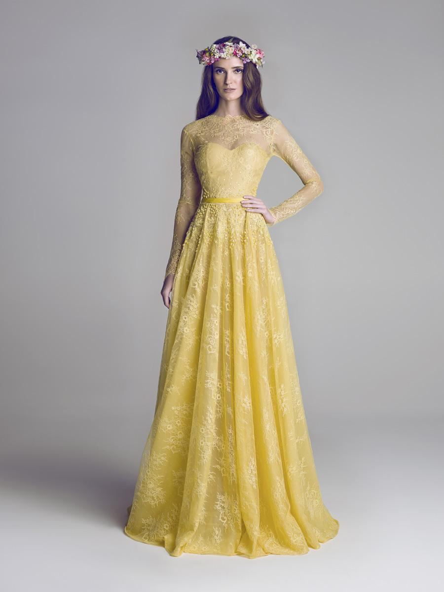 Golden Yellow Soft Lace Bridesmaid Dress Long Illusion Sleeves ...