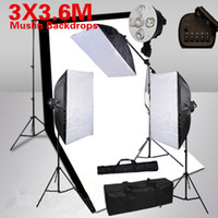 Wholesale Photography Studio Soft Box Lighting Softbox Boom Video Two Backdrops Stand Kit