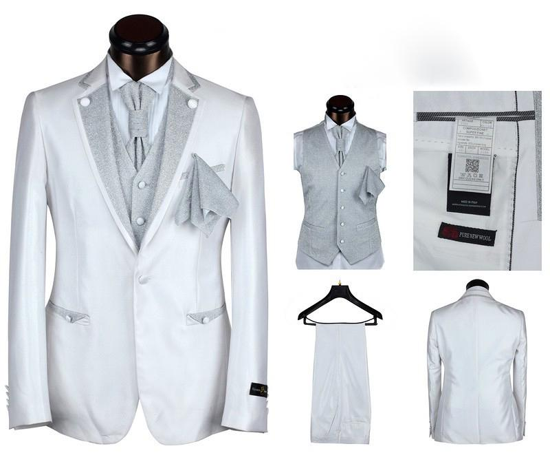 Hot ! New 2014 Top Sale Silver Prom Tuxedo Wedding Suits For Men ...