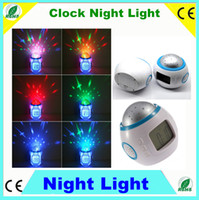 Wholesale 2pcs Bed Room Sky Star Night Light Projector Lamp Bedroom Alarm Clock W music multifunctional Led Alarm Clock Light