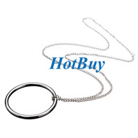 Wholesale 29cm Sweater Necklace Toy Metal Pendant Ring Chain Small Logic Knot Big Circle Street Magic Trick Tool Props Trick Set