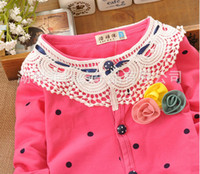 Wholesale Girls Sweet Flower Knitting Coats New Spring Autumn Children Long Sleeve Cardigan Pretty Baby Clothing Kids Flower Clothes