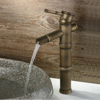 Brushed Nickel antique nickel bathroom faucet - antique brass bathroom faucet bamboo style tall basin sink mixer tap faucet classic waterfall single handle tap