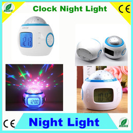 Wholesale 5pcs Colorful Music Star master Projector Alarm Clock Calendar home star projector lamp led night light clock Thermometer for kids