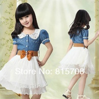 Wholesale MN Girl s Slim Denim Jeans Short Sleeve Peter Pan Collar Kid Dress with Belt