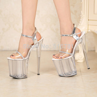 Wholesale 2014 Sexy cm Temptation Crystal Sandals Ultra High Thin Heels Platform Inch Clear Shoes Sexy Stripper Shoes