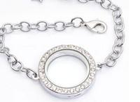 Wholesale 5pcs mm Silver crystal stone round rhinestone Living Memory Locket Bracelet For Floating Charm