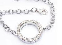 Wholesale 5pcs mm Silver round rhinestone Circle Living Memory Locket Bracelet For Floating Charm
