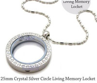 Lockets floating charm locket necklace - 5pcs mm Silver Crystal Circle Living Memory Locket Necklace For Floating Charm