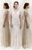 A-Line Reference Images V-Neck Grecian Fashion Deep V-Neck Hollow Sheer Short Sleeve Sweep Train Lace Embroidery 2014White Beach A-Line Wedding Dress For Bridal Gown