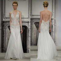 A-Line Reference Images Halter Grecian Fashion Halter Backless Juliet Sleeveless Sweep Train Embroidery Beads Chiffon 2014White Beach A-Line Wedding Dress For Bridal Gown