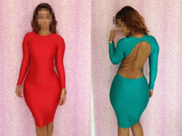 Casual Dresses Bodycon Dresses Summer New Arrival Sexy Red Green Scoop out Back Sexy Sleeved Bodycon Dress women fashion clothes Summer Spring Autumn dress B4511