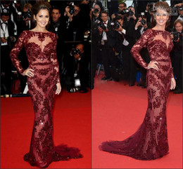 Wholesale 2013 New Arrival Scoop Burgundy Sheath Nude Lace Long Sleeves Cheryl Cole Zuhair Murad Celebrity Dress Evening Dresses Prom Mother Gowns
