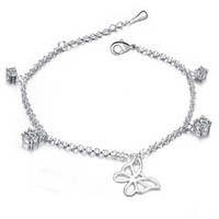 Cheap Wholesale-Crystal Butterfly Anklets for Women Silver Ankle Bracelets Sterling Silver Foot Jewelry Female Barefoot Sandals ML-523