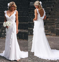 A-Line Reference Images Scoop Grecian Sexy Scoop T-Shirt Sleeveless Sweep Train Backless Cascading Ruffles Chiffon 2014White Beach A-Line Wedding Dress For Bridal Gown