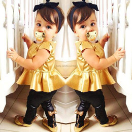cool Children's Outfits Sets girls' suit gold T-shirts tank tops black leggings tight trousers pants T05