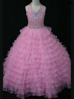 Wholesale 2015 new pink hot sale Flower Girl Dresses Beaded Organza Ball Gown Pagent Dresses with Halter Neckline Cheap beading crystal