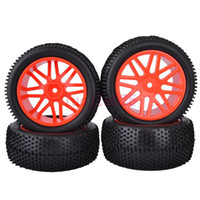 Cars other other 6614AS SET RC 1:10 Off-Road Buggy Car Front & Rear Foam Rubber Grain Tyre Tires & Red Wheel Rim
