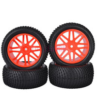 Cars other other 6614BS SET RC 1:10 Off-Road Buggy Car Front & Rear Foam Rubber Grain Tyre Tires & Red Wheel Rim