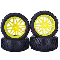 Cars other other 6613AS SET RC 1 10 Off-Road Buggy Car Front & Rear Foam Rubber Grain Tyre Tires & Yellow Wheel Rim