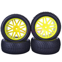 Cars other other 6613BS SET RC 1:10 Off-Road Buggy Car Front & Rear Foam Rubber Grain Tyre Tires & Yellow Wheel Rim