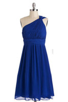 Reference Images Ruffle Sleeveless SSJ 2014 Royal Blue Bridesmaid Dresses One Shoulder Ruched A-Line Sleeveless Knee Length Party Gowns Cheap Simple Short Formal Dress