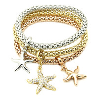 beaded sea star - GUST Brand Jewelry Vintage Star Starfish Asteroid Sea star Elastic Strand bracelets bangles Women s Accessory B46