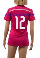 Tailandia Calidad personalizadas 14-15 Temporada # 12 MARCELO Pink Lady Soccer Jerseys, camisetas de fútbol de la mujer Tops Jersey, Jersey barata Online Venta